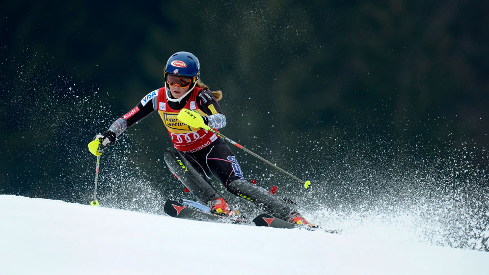 Mikaela Shiffrin competes in the FIS World Cup Women's Slalom competition in Ofterschwang, Germany.