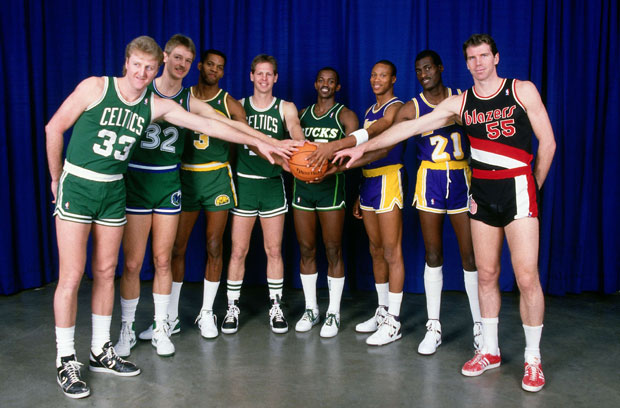 Larry Bird, Detlef Schrempf, Dale Ellis, Danny Ainge, Craig Hodgges, Byron Scott, Michael Cooper and Kiki Vandeweghe :: Getty Images