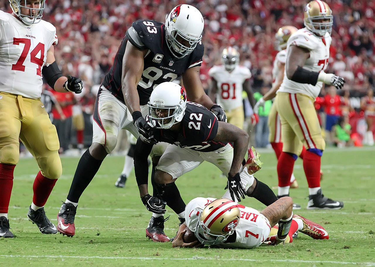 Tony Jefferson reacts after sacking Colin Kaepernick for a loss of nine yards in the fourth quarter.