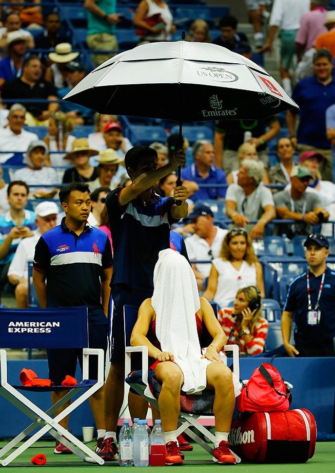 Simona Halep during a rain delay at the U.S. Open.