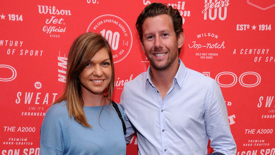 Halep and her coach Wim Fissette attend an event in New York in August 2014.