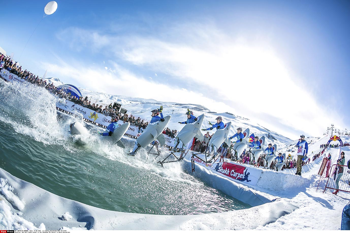 Sharks, or people?, jumping into the pool during the Red Bull Shakh Carpet in the Shakhdag Ski Resort in Qusar, Azerbaijan.