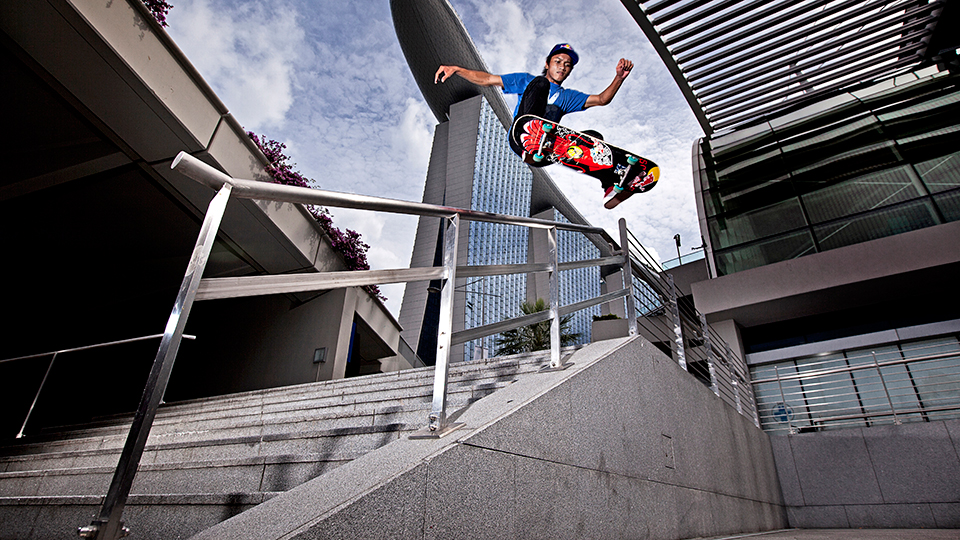 Farris Rahman pulls off an epic frontside 180 outside the Marina Bay Sands Convention Centre in Singapore.