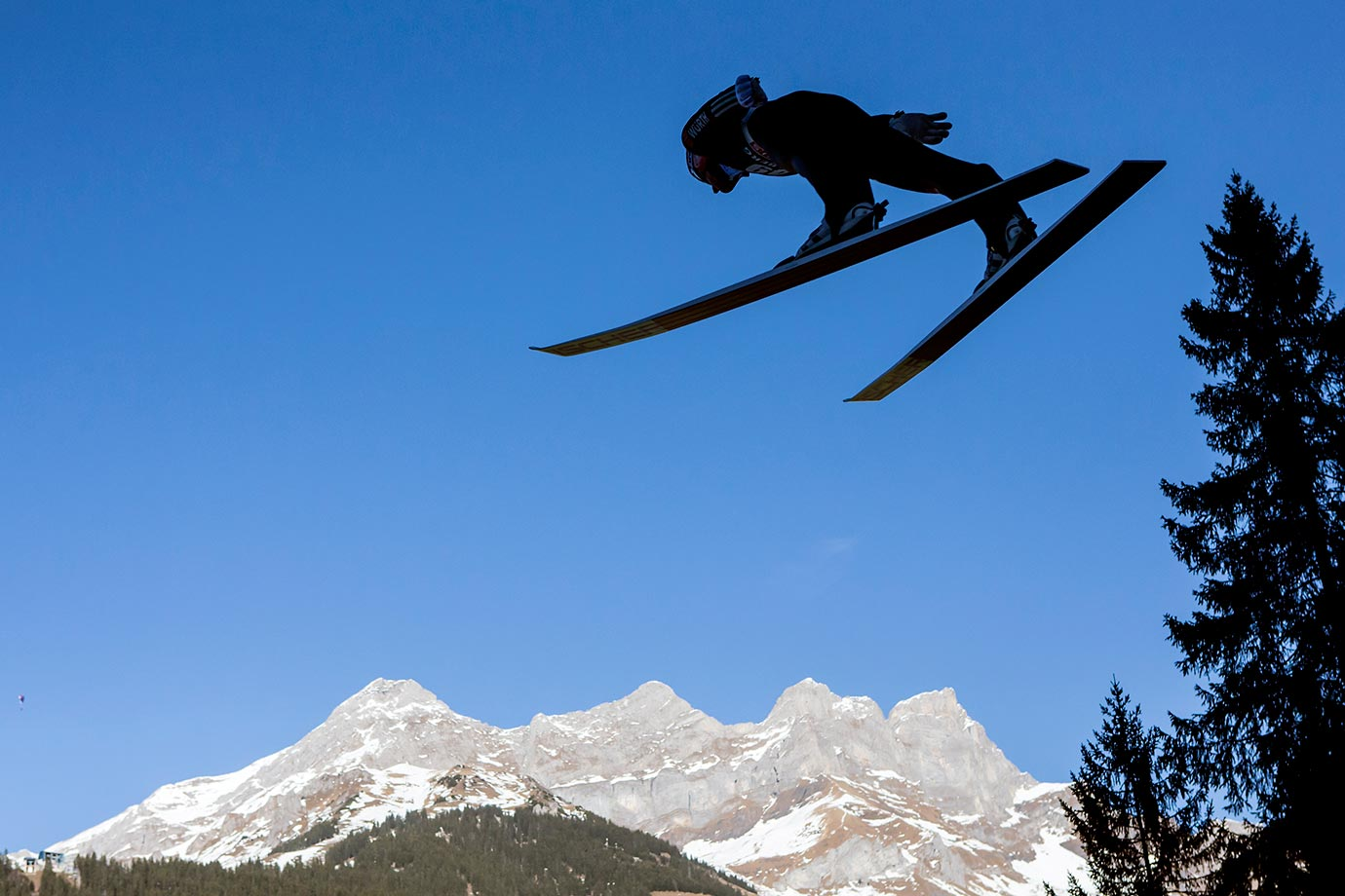 Severin Freund of Germany competes during the Ski jumping World Cup in Engelberg, Switzerland.