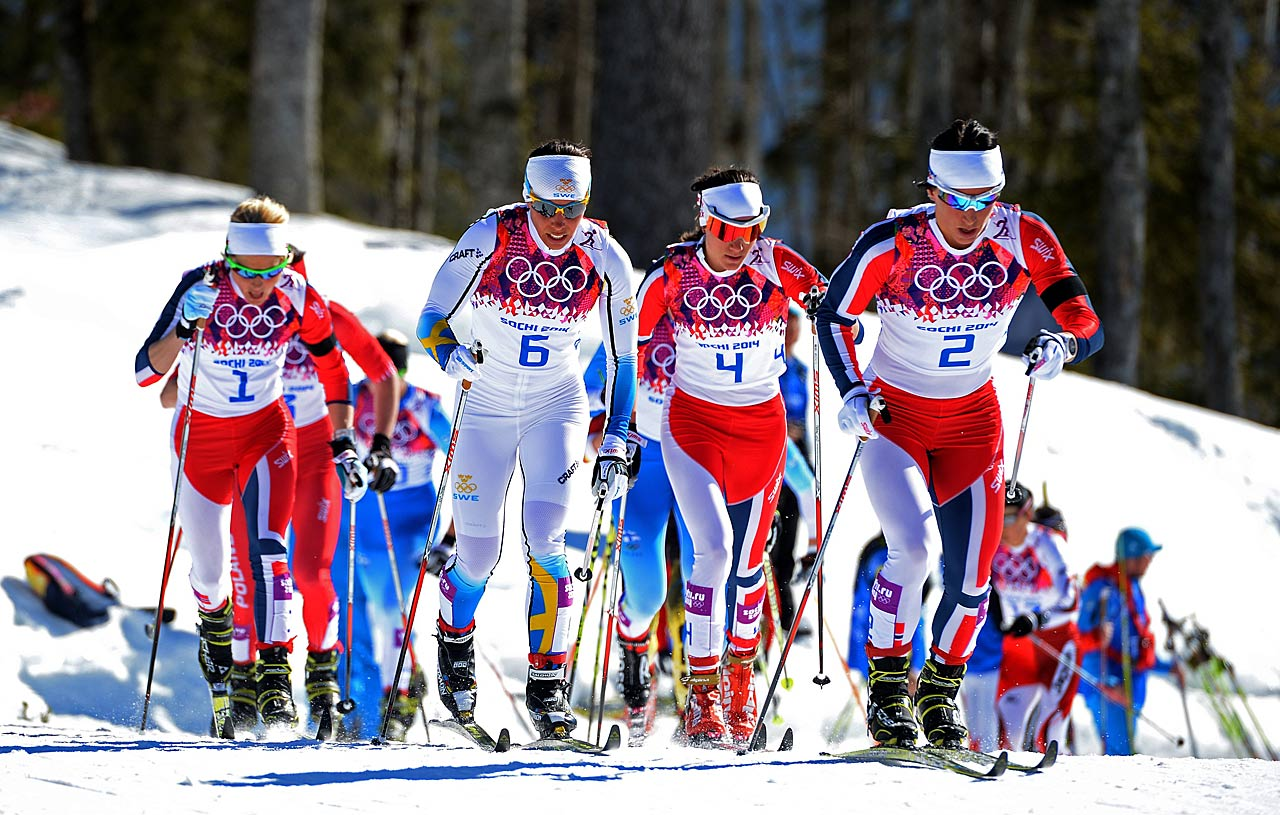 Therese Johaug, Charlotte Kalla of Sweden, Heidi Weng and Marit Bjoergen of Norway compete in the Ladies' Skiathlon 7.5 km Classic + 7.5 km Free.