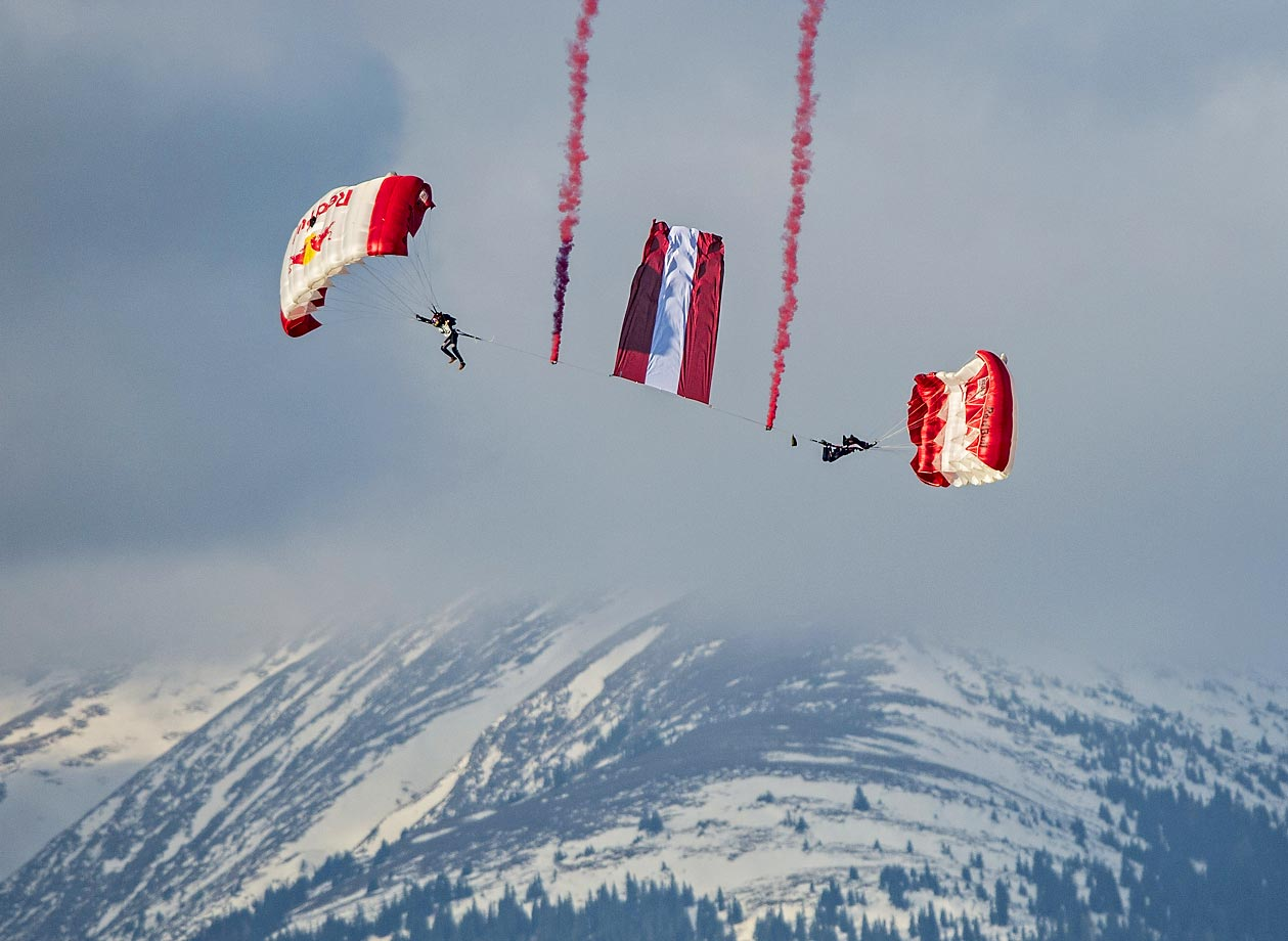 Red Bull Sky Divers perform in Spielberg, Austria.