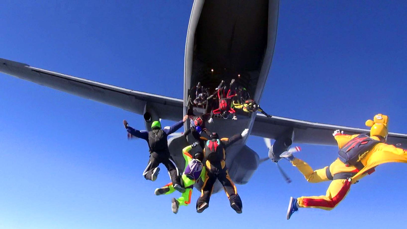 """Thirty-five skydivers try to set a record for """"Big Way Turkey Multi-Skydiving"""" with the support of the Turkish Armed Forces in Izmir, Turkey. The old record was set with 24 skydivers."""