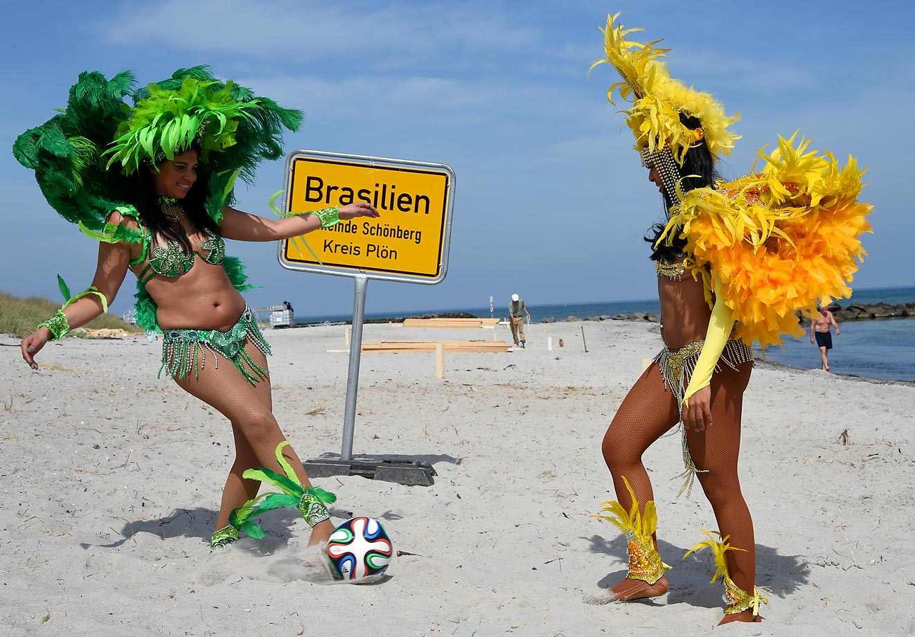 Brazilian dancers Luciana and Simone play football on the so-called 'WC-beach-Brazil.'