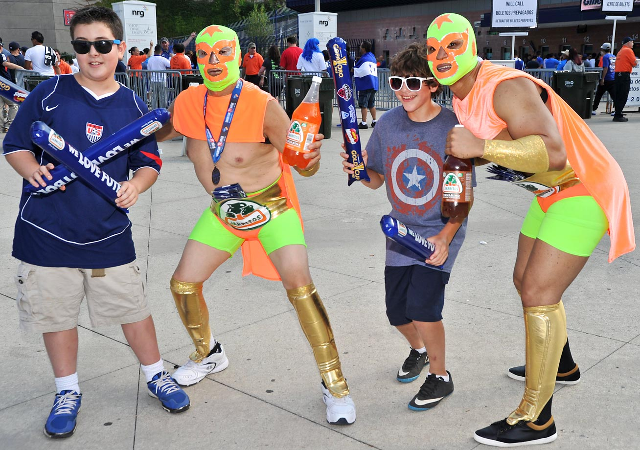 Fans pose for a picture before the Honduras versus Panama game during the CONCACAF Gold Cup at Gillette Stadium.