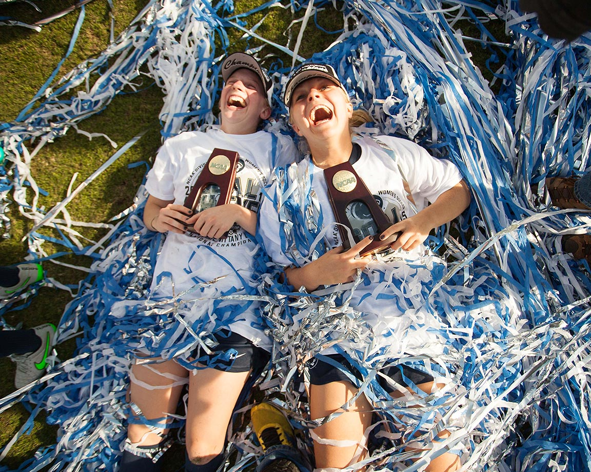 Penn State players celebrate their win against Duke at the NCAA soccer final.