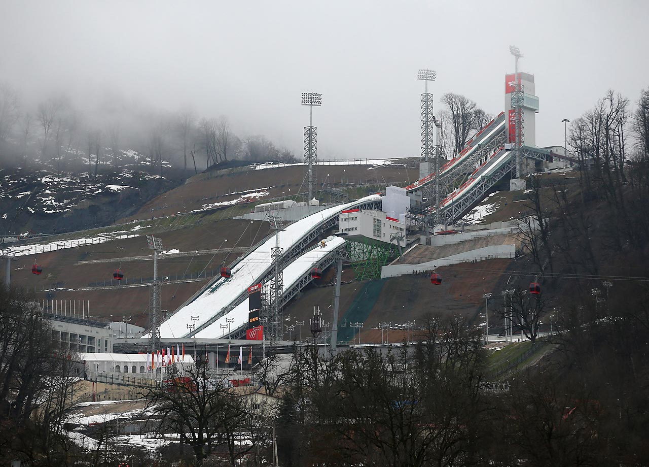 A general view of the RusSki Gorki Ski Jumping venue.