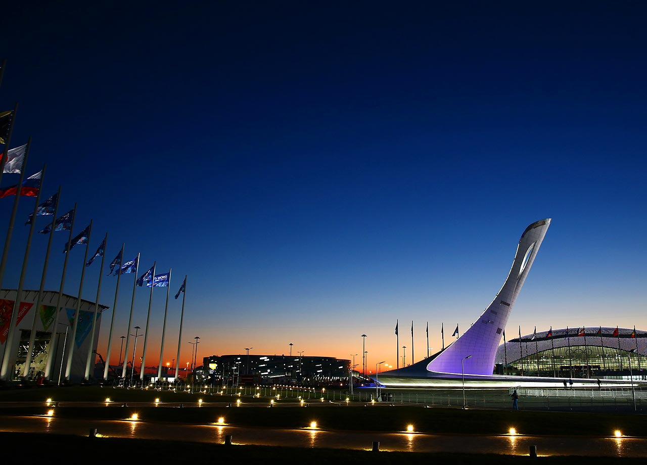 The Olympic Cauldron and Bolshoy Ice Dome are seen ahead of the opening ceremonies.