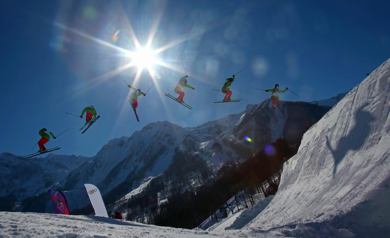 Dominique Ohaco of China practices during training for Ski Slopestyle.