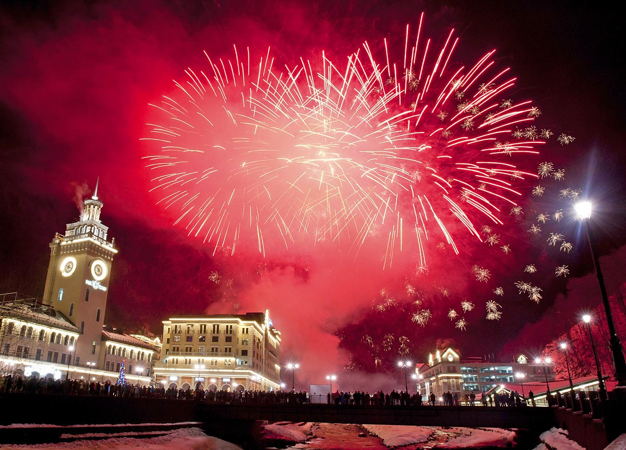 At long last, the Sochi Games are upon us. Some of the events will be held at the Rosa Khutor ski resort in Krasnaya Polyana, 60 kilometers (37.5 miles) east of Sochi, shown here during New Year's celebrations.