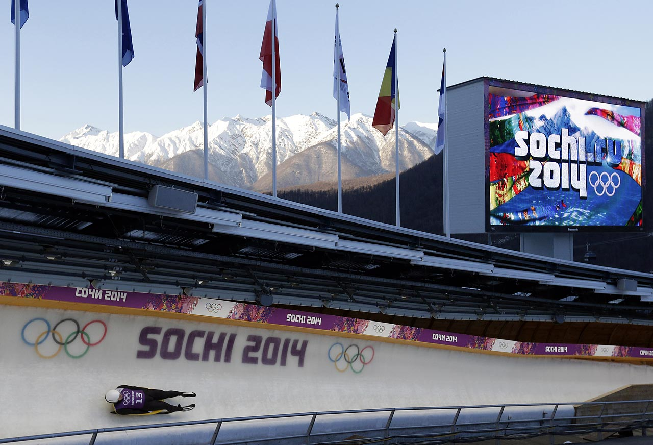 Martins Rubenis of Latvia takes a turn during a training session for the men's singles luge.