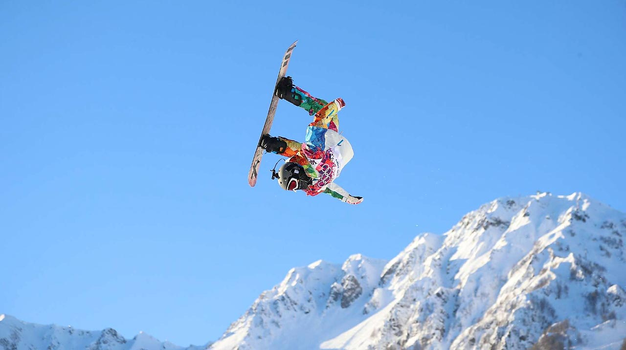 A competitor shows his talents during the Slopestyle Qualification.