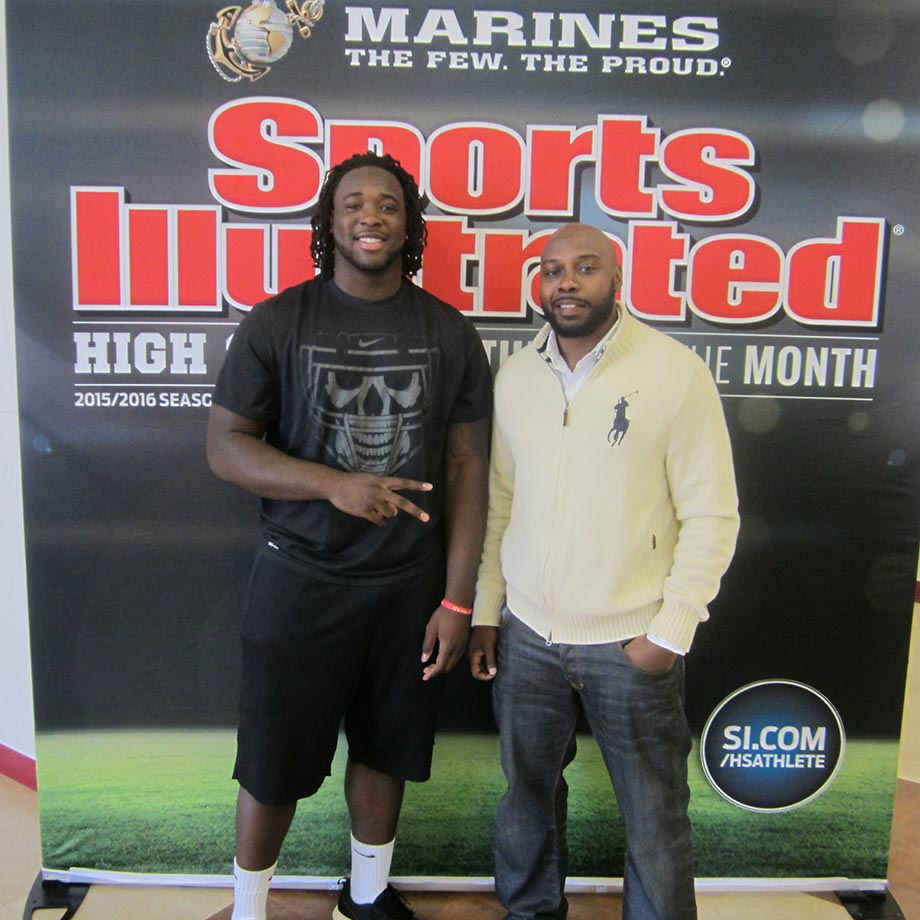 Sosa Agim smiles with former Arkansas running back Felix Jones, who led the nation with 9.1 yards per carry as a junior before entering the 2008 NFL Draft where he was a first-round draft pick. Jones played five seasons for the Dallas Cowboys and one for the Pittsburgh Steelers.