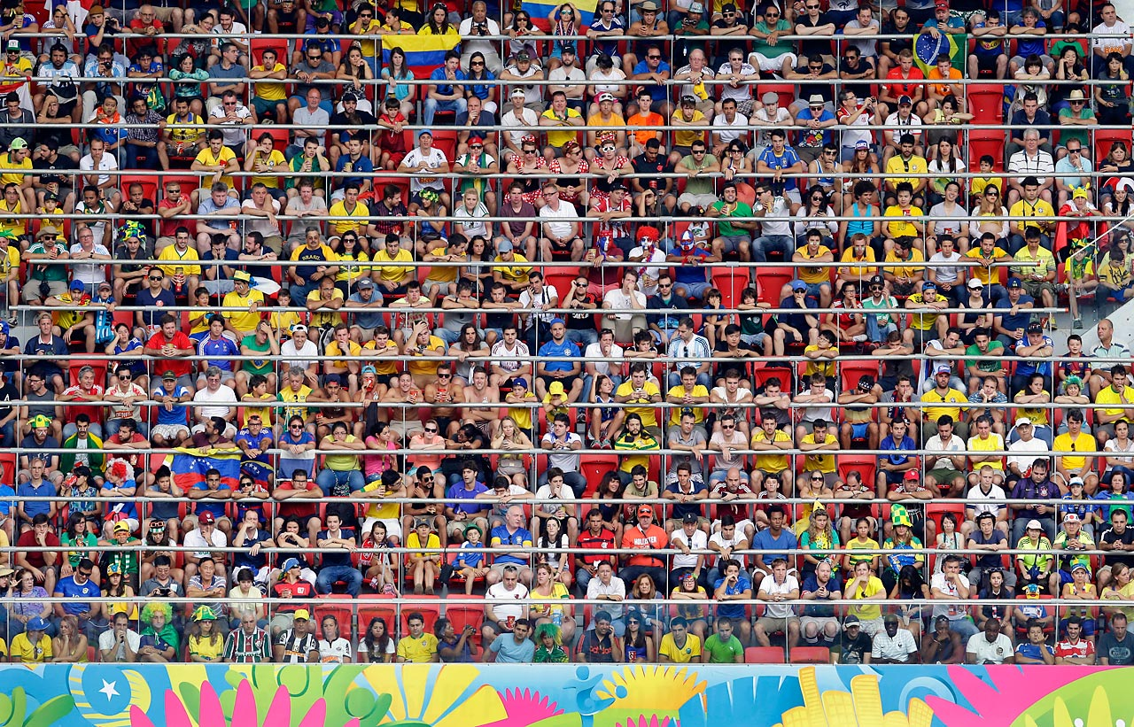 Spectators watch the World Cup Round of 16 match between France and Nigeria at the Estadio Nacional in Brasilia, Brazil.