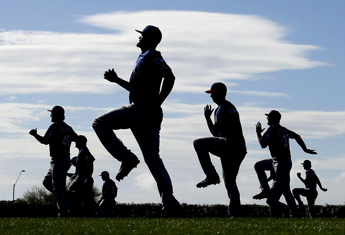Texas Rangers players during spring training workouts.