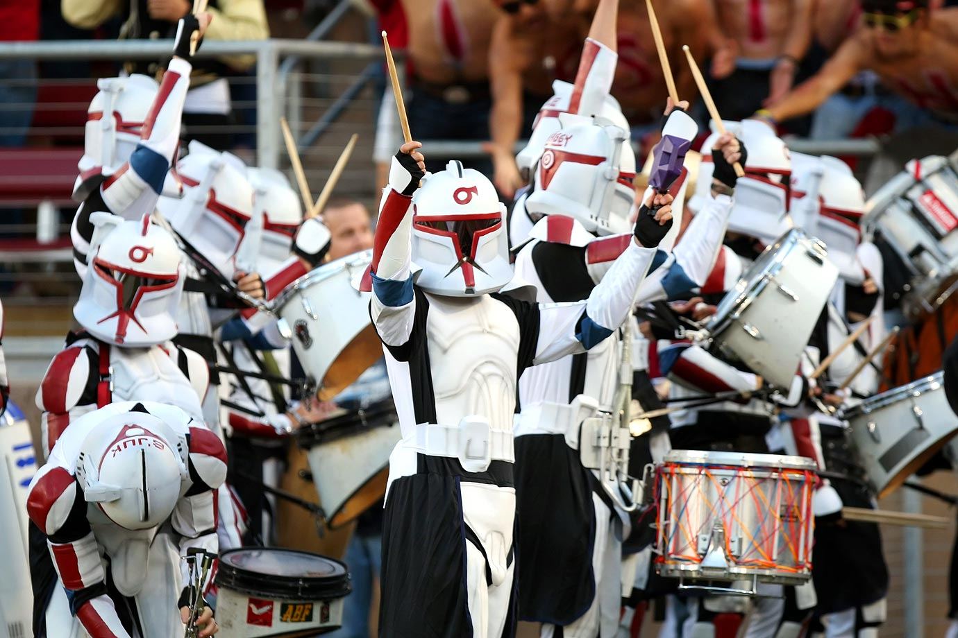 The Stanford marching band drummers dressed as clone troopers perform before a game against Cal on Nov. 21, 2009 at Stanford Stadium in Stanford, Calif.