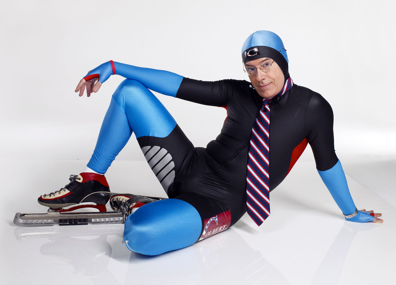 "Stephen Colbert poses during an SI photo shoot on Dec. 7, 2009, dressed in a uniform for the U.S. Speedskating Team, whom ""The Colbert Report"" sponsored at the 2010 Winter Olympics in Vancouver, Canada."
