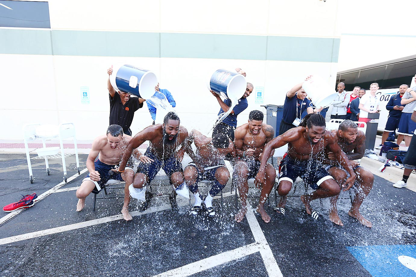 Stephen Curry, James Harden, DerMar DeRozan, Rudy Gay, Kenneth Faried and DeMarcus Cousins of the USA Basketball Men's National Team accept the ALS Ice Bucket Challenge.
