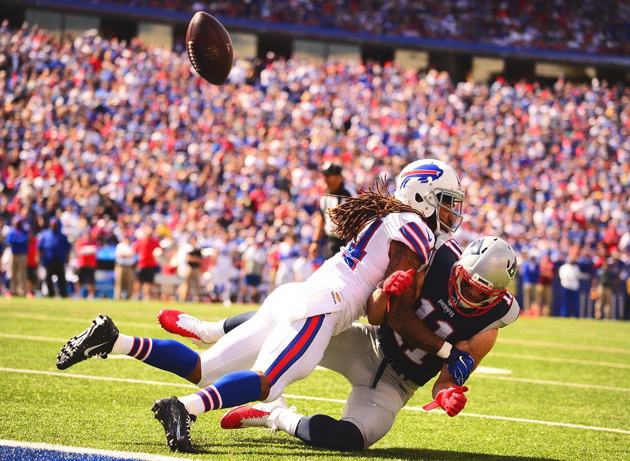 Stephon Gilmore of Buffalo makes a tackle in the season opener, against New England.