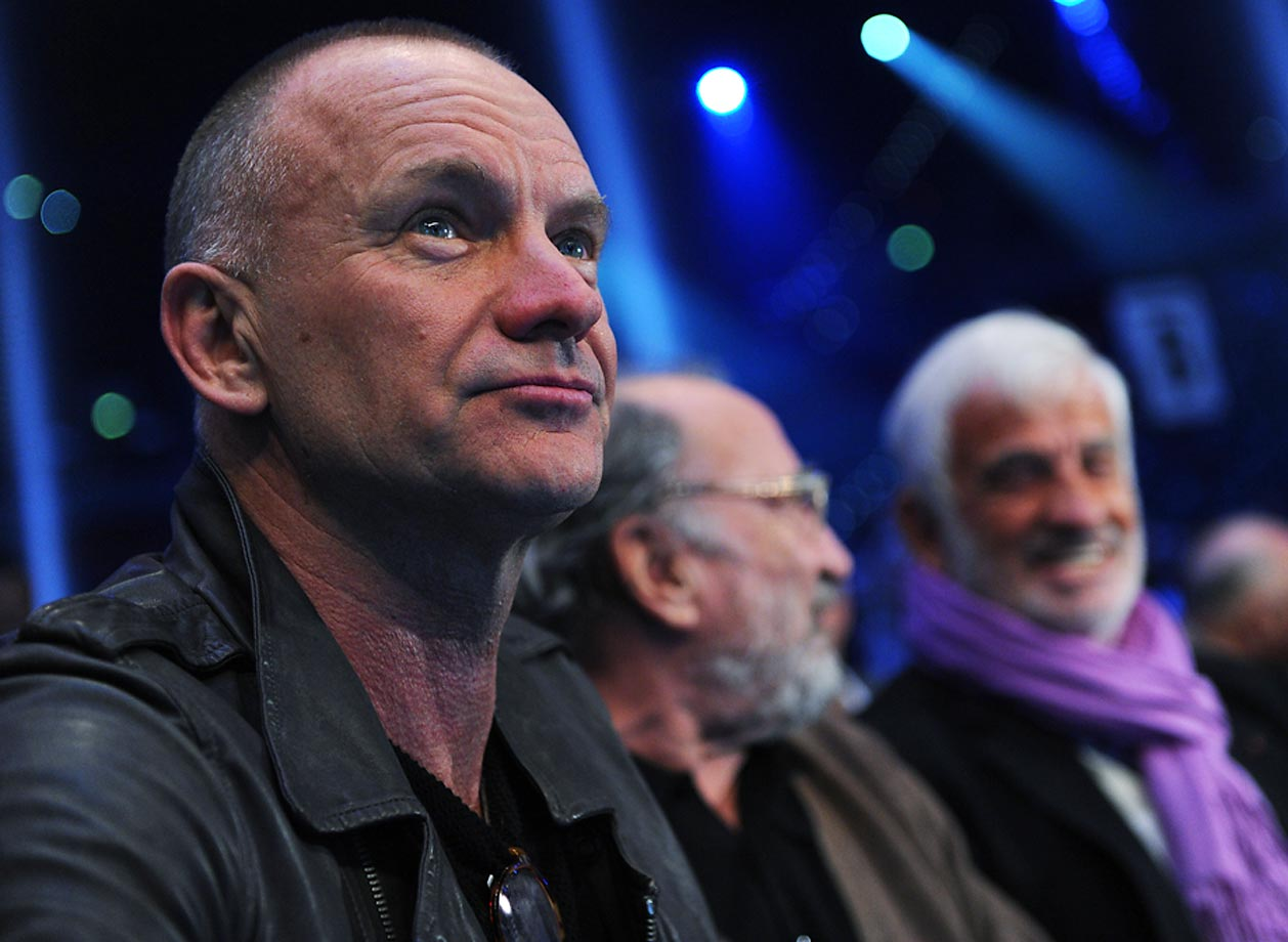 Sting and French actors Jean-Paulk Belmondo and Jean Reno at the bout between Wladimir Klitschko and French challenger Jean-Marc Mormeck.