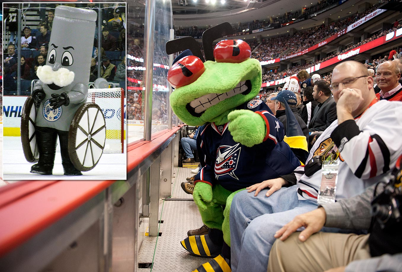 The Blue Jackets' Civil War connection is not always immediately recognized, so it was fitting that Boomer the Cannon (inset) was often mistaken for a bong, mustachioed male genitalia, or a sausage between two pizza wheels after his introduction in 2010. His plug was quickly pulled, leaving the team with its original mascot, Stinger, who seems to be a play on a yellow jacket except that he's green.