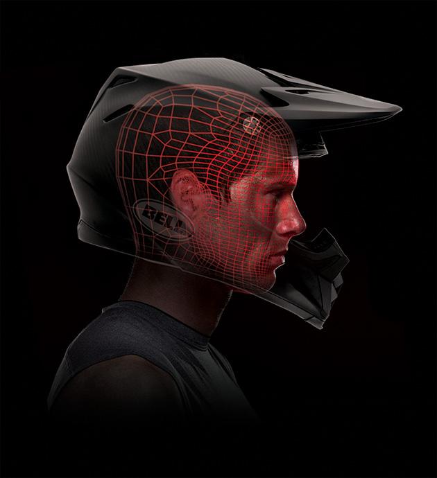 Renderings of the Moto-9 carbon custom-fit helmet designed for Edler.
