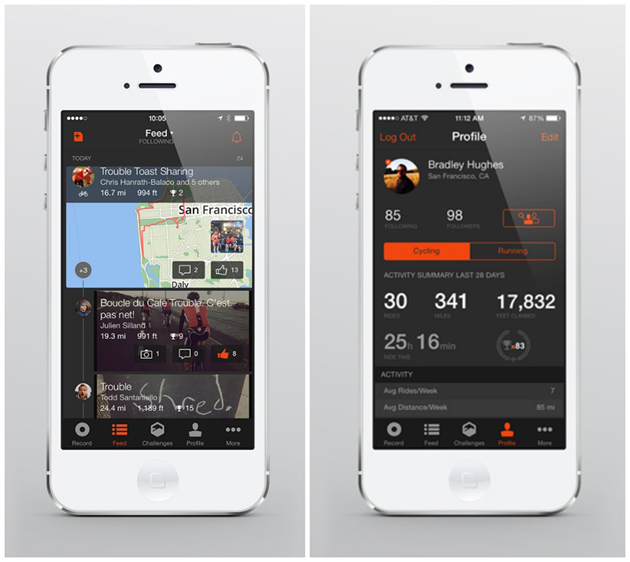 A Strava activity feed and user profile.