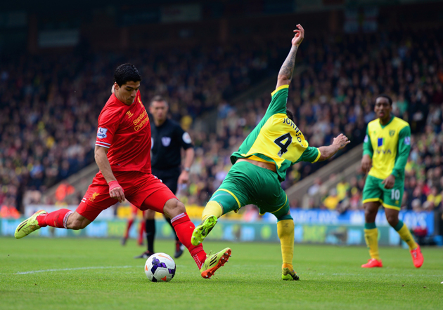 Garra Crash — For all of his highs with Liverpool this season - including five goals in two games against Norwich City - Suarez suffered a brutal low with a crippling draw against Crystal Palace.