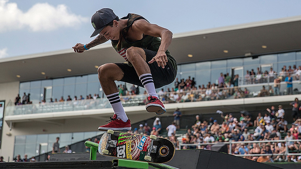 Nyjah Huston competes in the men's Skateboard Street final during Day 4 of X Games Austin 2014.