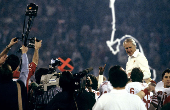 Bill Walsh gets his first Super Bowl victory ride.