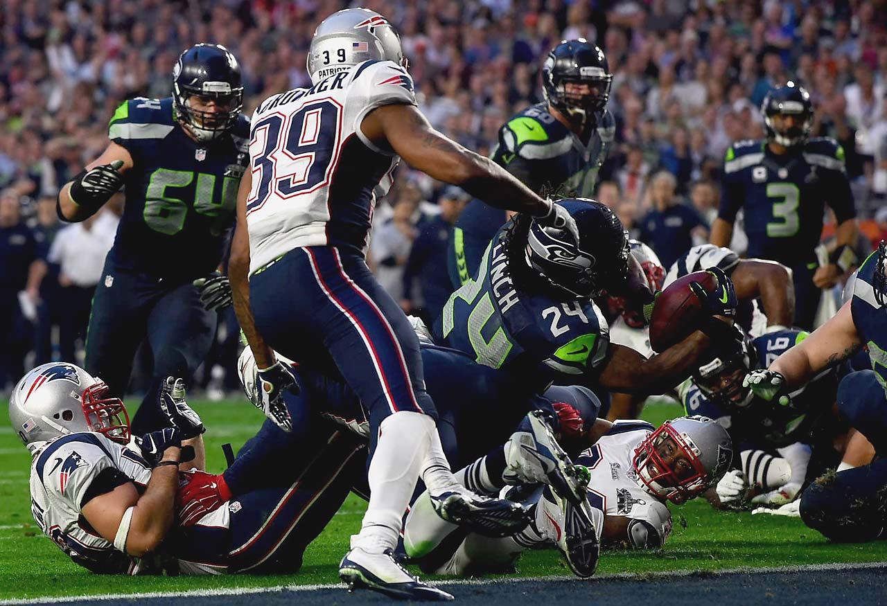 Marshawn Lynch finished with 102 yards on 24 carries and this lone touchdown. The Seahawks questionable playcalling in the closing minute denied him the chance to score a likely game winner.