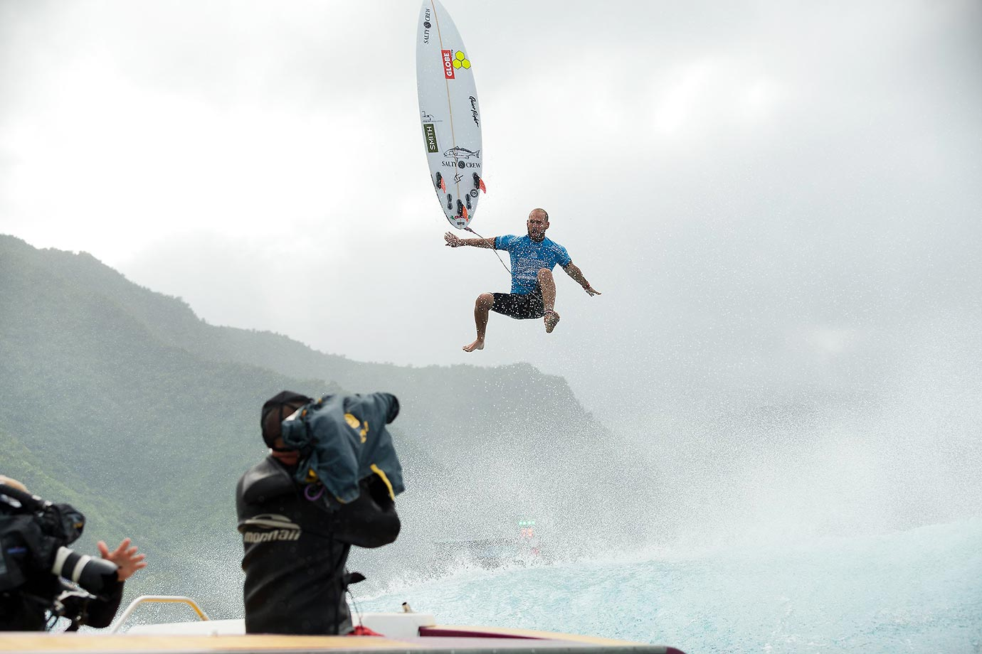 CJ Hobgood of the U.S. finished third and was awarded the Andy Irons Most Committed Performance award at the Billabong Pro Tahiti.