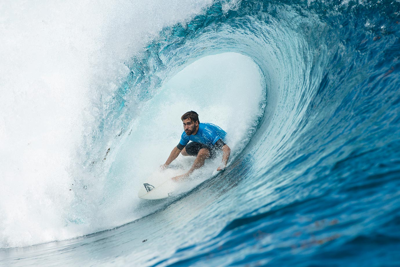 Aritz Aranburu from Spain defeated world number 2 Mick Fanning in Round 3 of the Billabong Pro in Teahupo'o, French Polynesia.