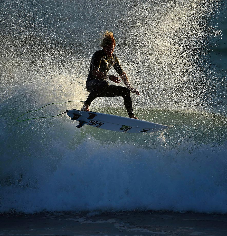 John John Florence of Hawaii gets some air time in practice on Sept. 15.