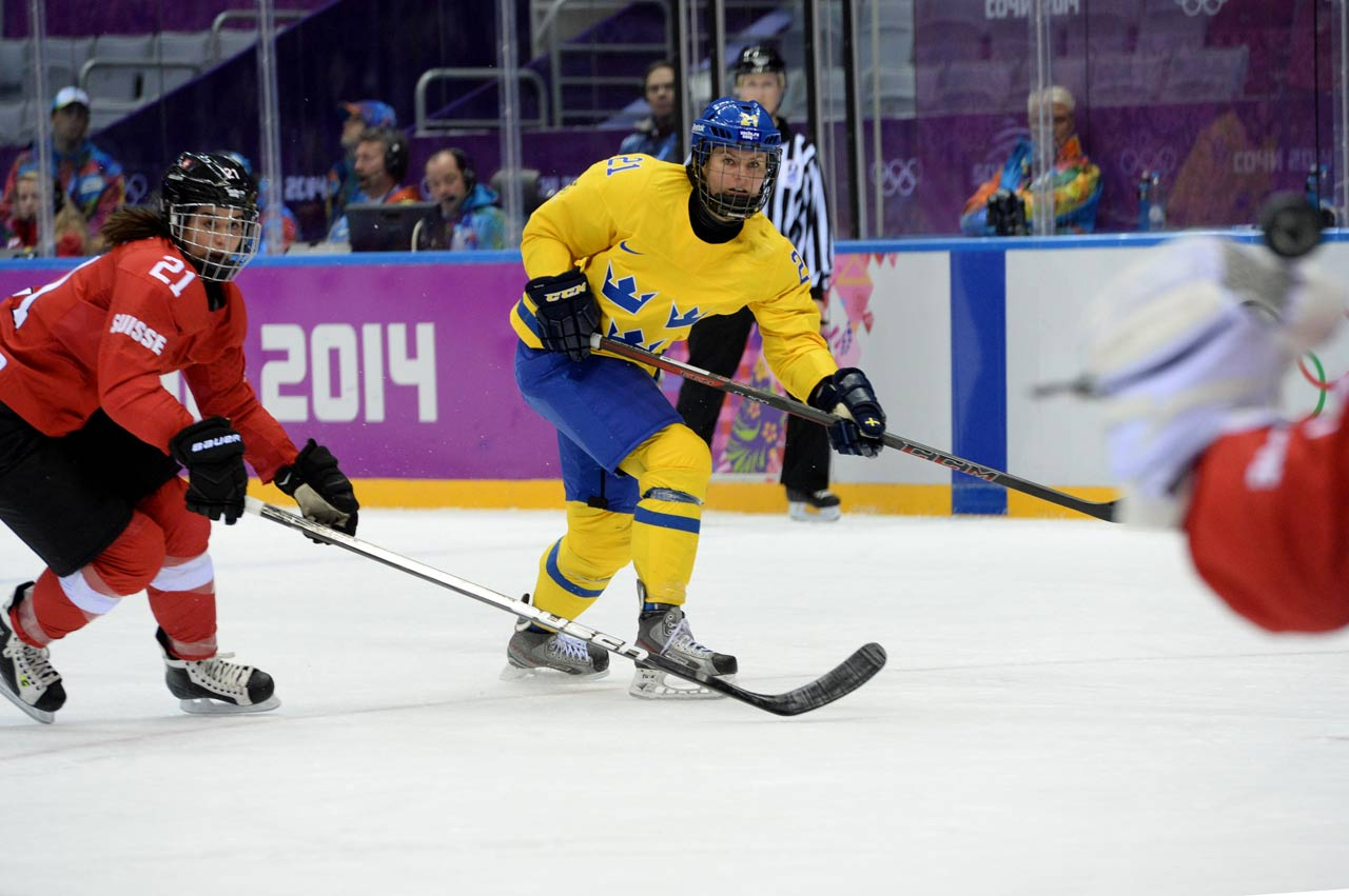 Evelina Raselli and her teammates rallied from a two-goal deficit to beat Sweden 4-3.