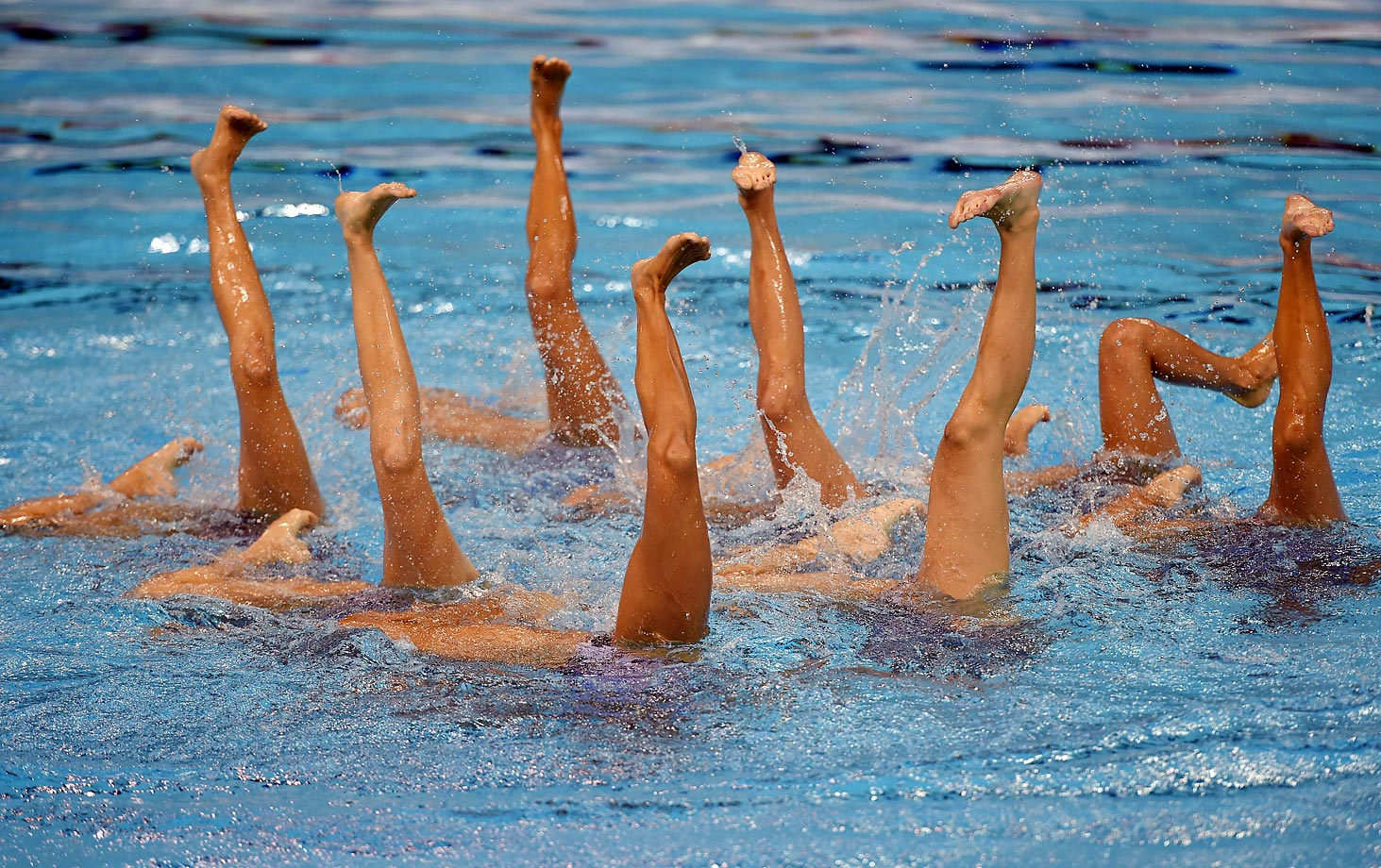 Mexico performs the Synchronized Swimming Team Technical Routine at the Toronto 2015 Pan American Games.