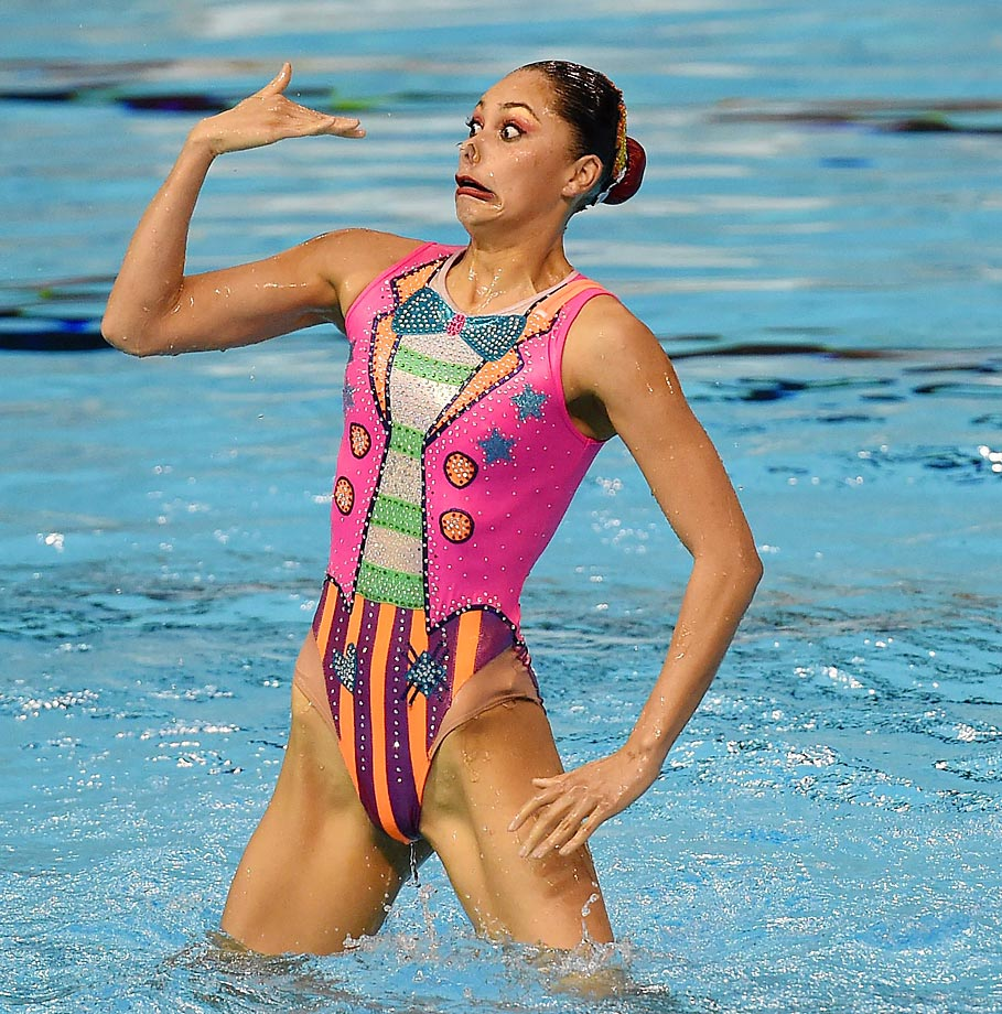 A member of team Mexico competes during the Synchronized Swimming Team Finals.