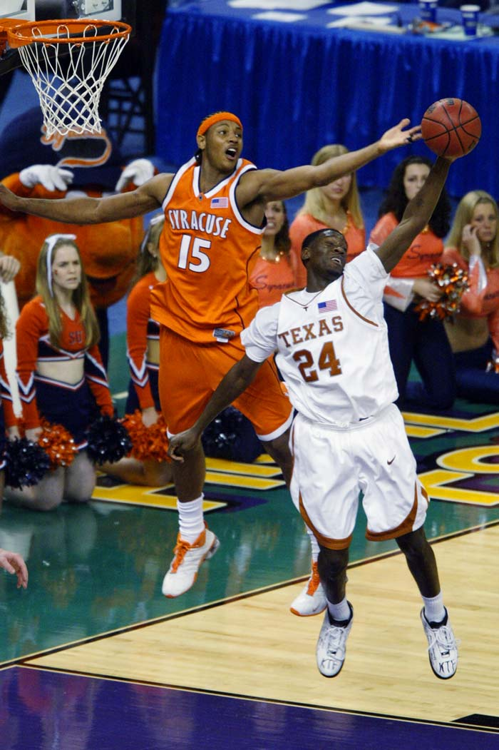 2003: No. 3 Syracuse defeats No. 1 Texas 95-84 in a national semifinal.