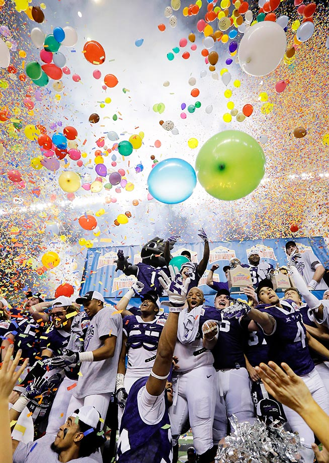 TCU players celebrate their win in the Alamo Bowl.