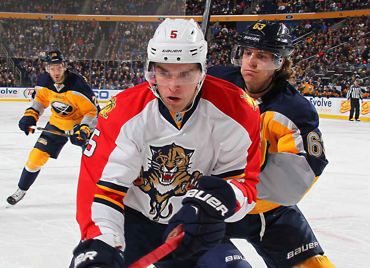 """The second player to be given """"exceptional"""" status by the OHL, and second defenseman since 1996 to be the NHL's top pick, the uncannily mature Ekblad made a seamless transition, winning the Calder with 12-27-39, +12 rookie season. His 39 points were two shy of Bobby Orr's NHL record for an 18-year-old blueliner and his offensive totals were all team rookie marks."""