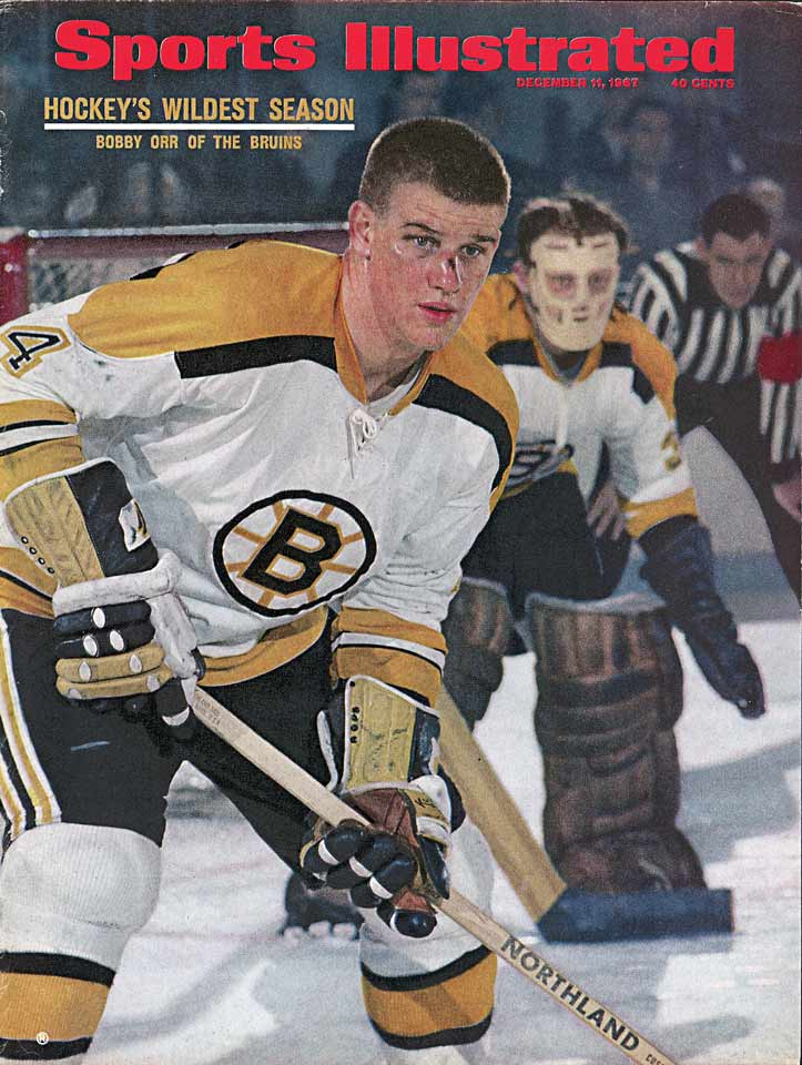 "The kid was as good as expected (13-28-41 in 61 games), winning the Calder Trophy and launching a blue line revolution with his skating, passing, dynamic rushes and solid defense. Norris winner Harry Howell prophetically said, ""I might as well enjoy it now because I expect it's going to belong to Bobby Orr from now on."" He was right. Orr won it in each of the next eight seasons."