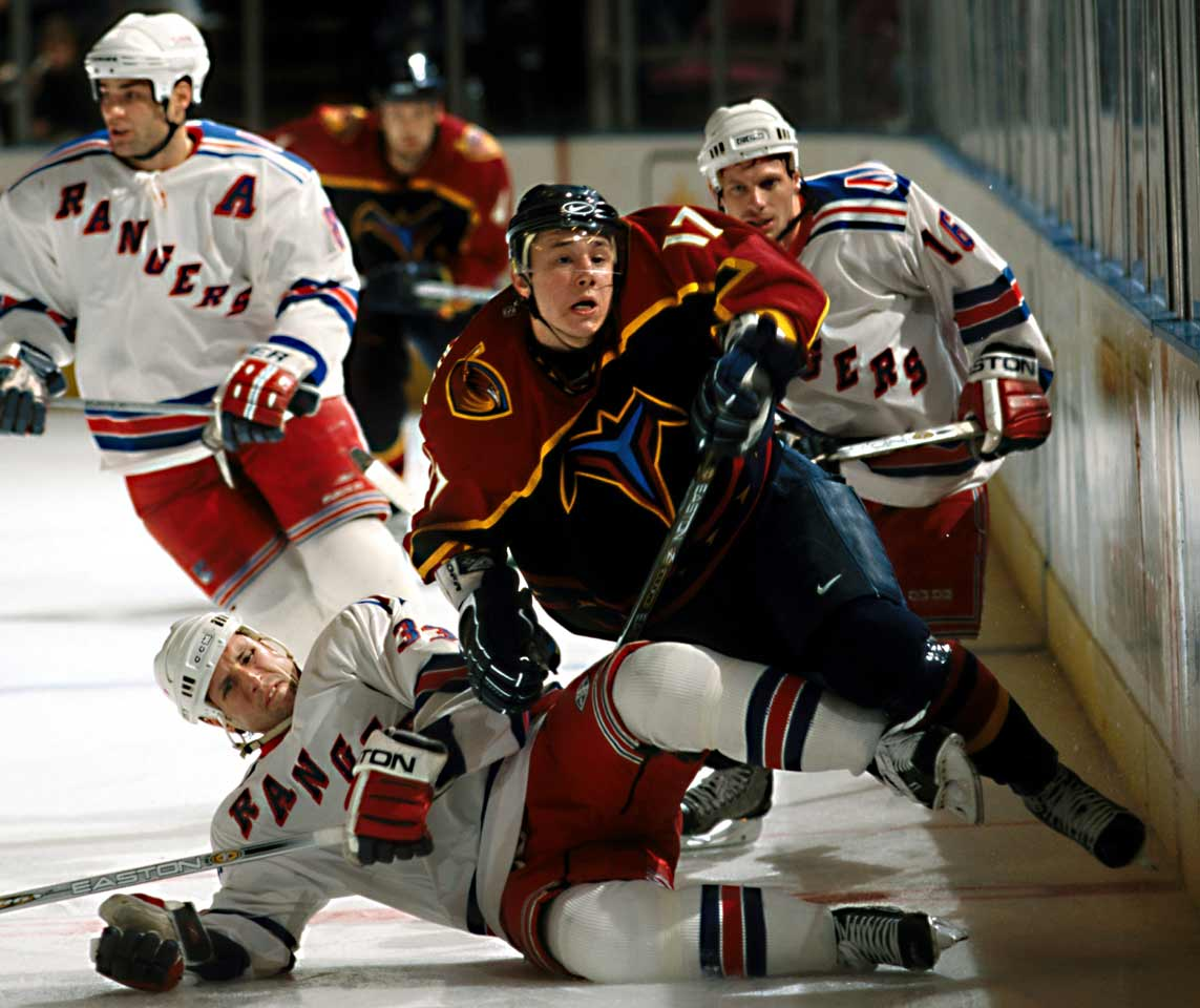 An international star, he was the first Russian ever chosen first in an NHL draft (2001). He went 29-22-51 in 65 games as a rookie but suffered a shoulder injury and finished second in the Calder vote behind Thrashers teammate Dany Heatley, 21. A fast, exceptional puckhandler and explosive scorer, Kovalchuk upped his goal (38) and points (67) totals at 19, setting up a run of six straight 40-plus goal seasons.