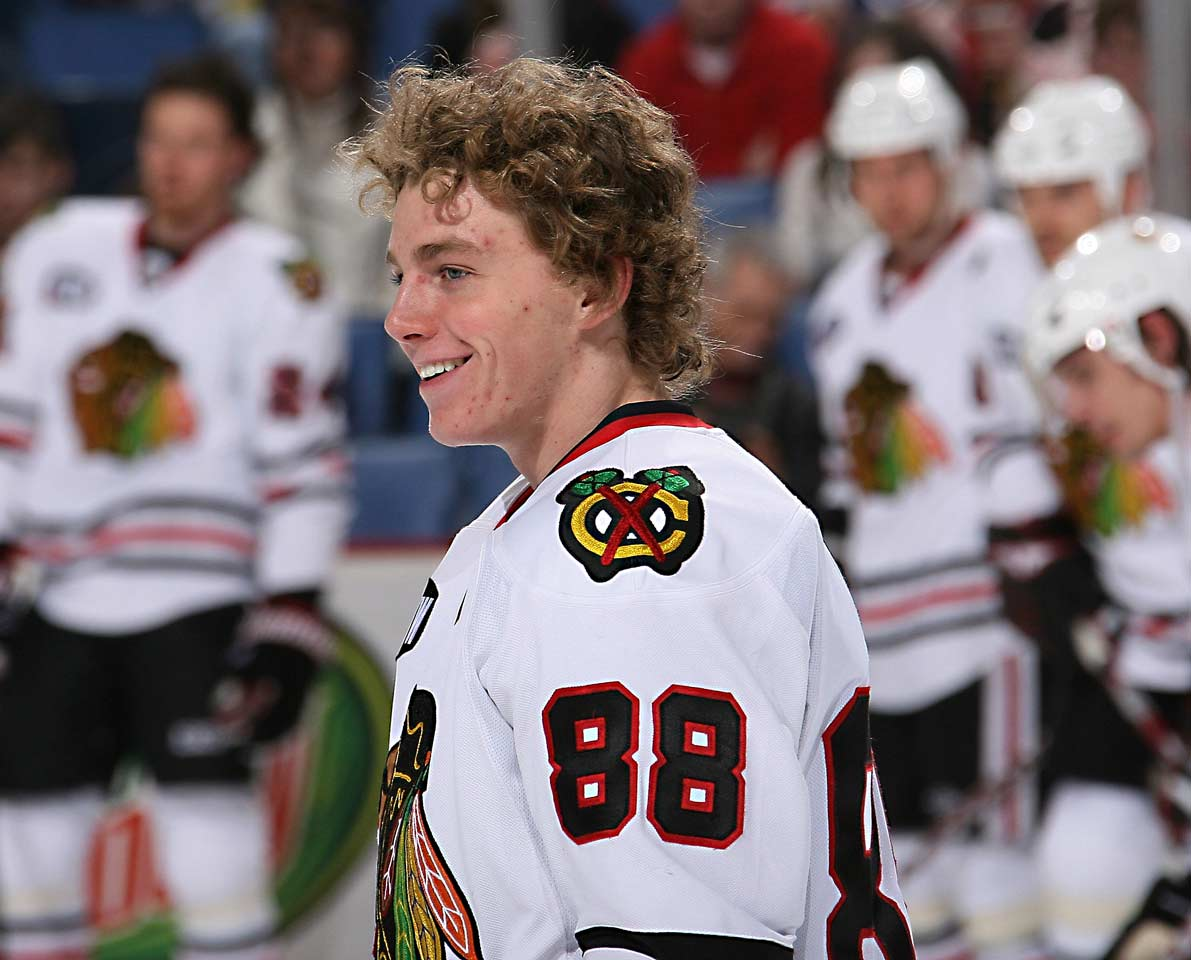 """An American stickhandling wizard out of the OHL, Kane was the first pick in the 2007 draft. He dispelled concerns about his size (5' 9"""", 160) by playing in all of Chicago's 82 games, going 21-51-72 and beating out 19-year-old teammate Jonathan Toews and Washington's Nicklas Backstrom for the Calder."""