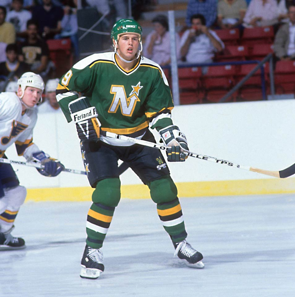 One of the greatest American players of all time, the speedy, explosive center with the lethal shot was the first pick in 1988 out of the WHL and Team USA. Modano made his NHL debut during the 1989 playoffs and then went 29-46-75 the following season, finishing second to 31-year-old Sergei Makarov of the Flames in the Calder voting.