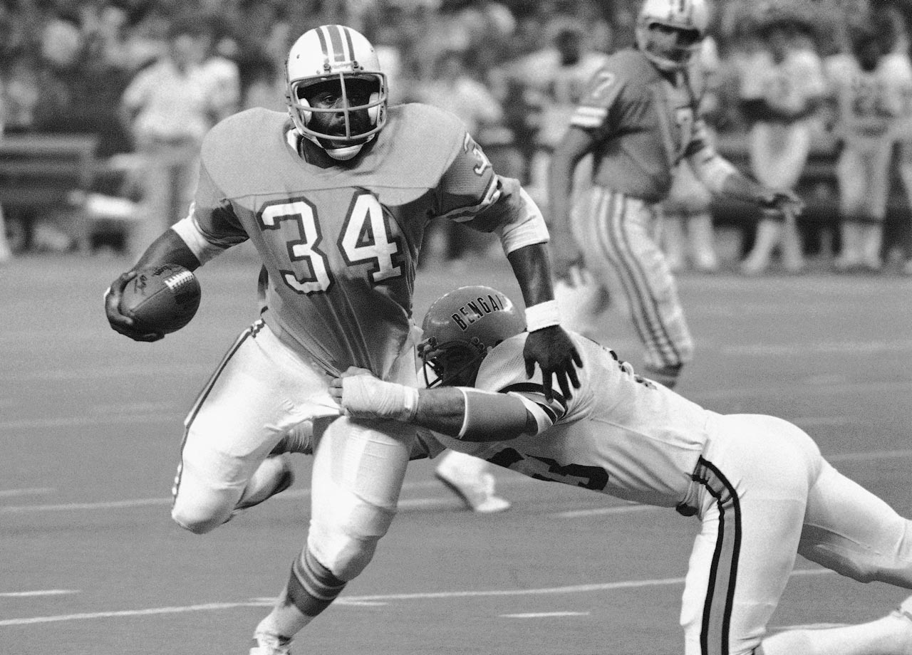 Earl Campbell ran 38 times for 154 yards and a touchdown as the Houston Oilers overcame Cincinnati's 24-0 advantage. The Oilers went on to reach the AFC Championship Game that season.