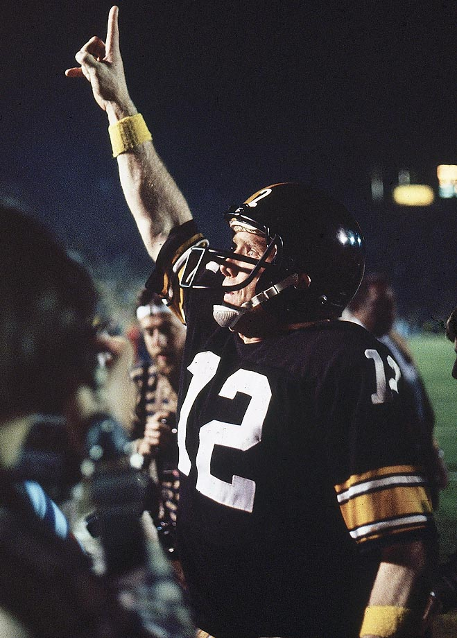 Pittsburgh Steelers QB Terry Bradshaw celebrates after defeating the Los Angeles Rams in Super Bowl XIV at the Rose Bowl in January 1980.